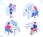 People work with different gadgets. Can use for web banner, infographics, hero images. Flat isometric vector illustration isolated on white background.