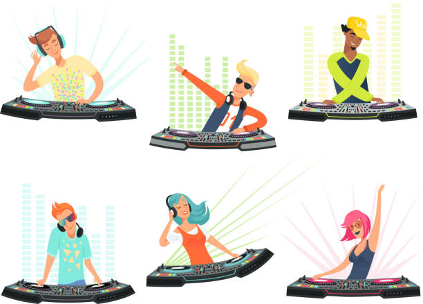 DJ characters. Vector illustrations of music cartoon mascots DJ characters. Vector illustrations of music cartoon mascots. Dj with headphone on club party dj stock illustrations