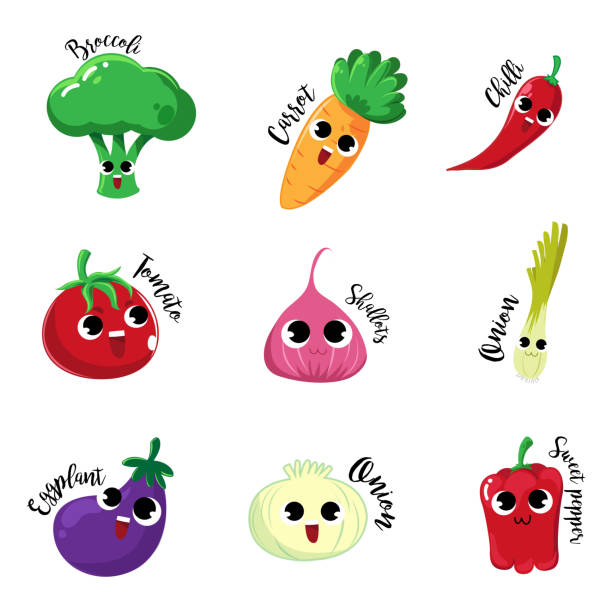 characters vegetable Set cartoon characters vegetable with happy mood and very so cute. scallion stock illustrations