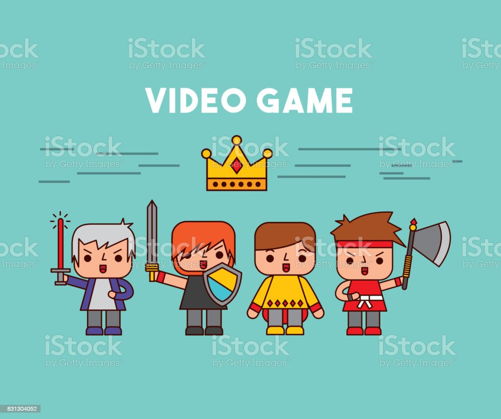 characters video games classic vector art illustration
