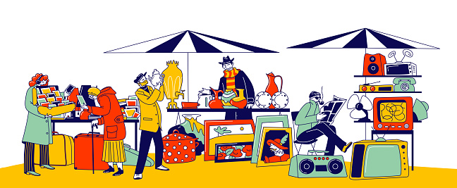 Characters Visiting Flea Market for Shopping Unique Antique Things. Garage Sale, Outdoor Retro Bazaar with Sellers Presenting Old Stuff for Buyers to Purchase. Linear People Vector Illustration