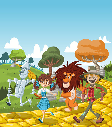characters walking on the yellow brick road.