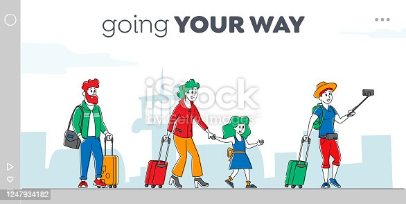 Characters with Bags Boarding on Airplane Landing Page Template. Travelers Go to Aircraft, Passengers Board to Jet. People Travel Woman with Daughter Businessman in Airport. Linear Vector Illustration
