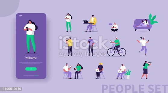 Tiny Business Characters Using Different Gadgets. Man and Woman Holding  Smartphone, Laptop, Tablet. Freelancer, Office Workers. Female and Male Characters Icons Set. Flat Cartoon Vector Illustration.