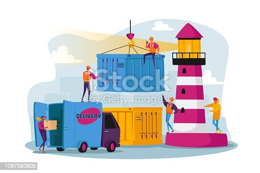 istock Characters Work in Seaport Loading Cargo, Shipping Port with Harbor Crane Load Containers. Workers Carry Boxes in Dock 1287092805
