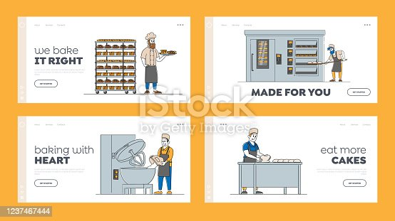 istock Characters Workers Bakery, Bread Machinery Production Landing Page Template Set. Flour Grinding, Dough Kneading Baking Loafs in Manufacture with Industrial Equipment. Linear People Vector Illustration 1237467444