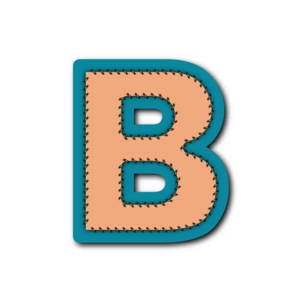 B charactor of alphabet in Embroidered patch work concept for vector graphic idea design vector art illustration