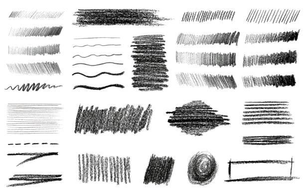 bildbanksillustrationer, clip art samt tecknat material och ikoner med charcoal och grafit penna konst borstar vektor set. - skuggig
