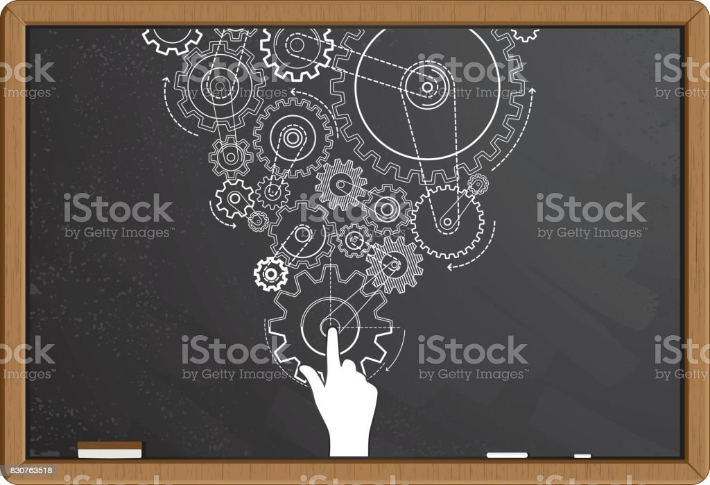 Charcoal gears drawing on blackboard vector art illustration
