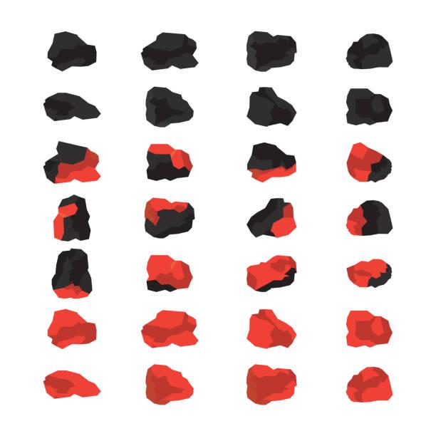 ilustrações de stock, clip art, desenhos animados e ícones de charcoal grill coals. coals set. vector. - burned oven