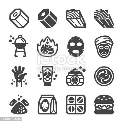 charcoal icon set,vector and illustration
