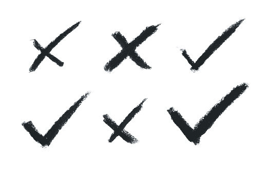 Charcoal strokes in cross x / NO button shape and check / OK mark symbol - set of six single objects in vector on white paper background with beautiful natural details - hand drawn vector illustration - abstract isolated original graphic design