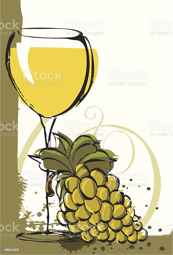 Chardonnay with grapes vector art illustration