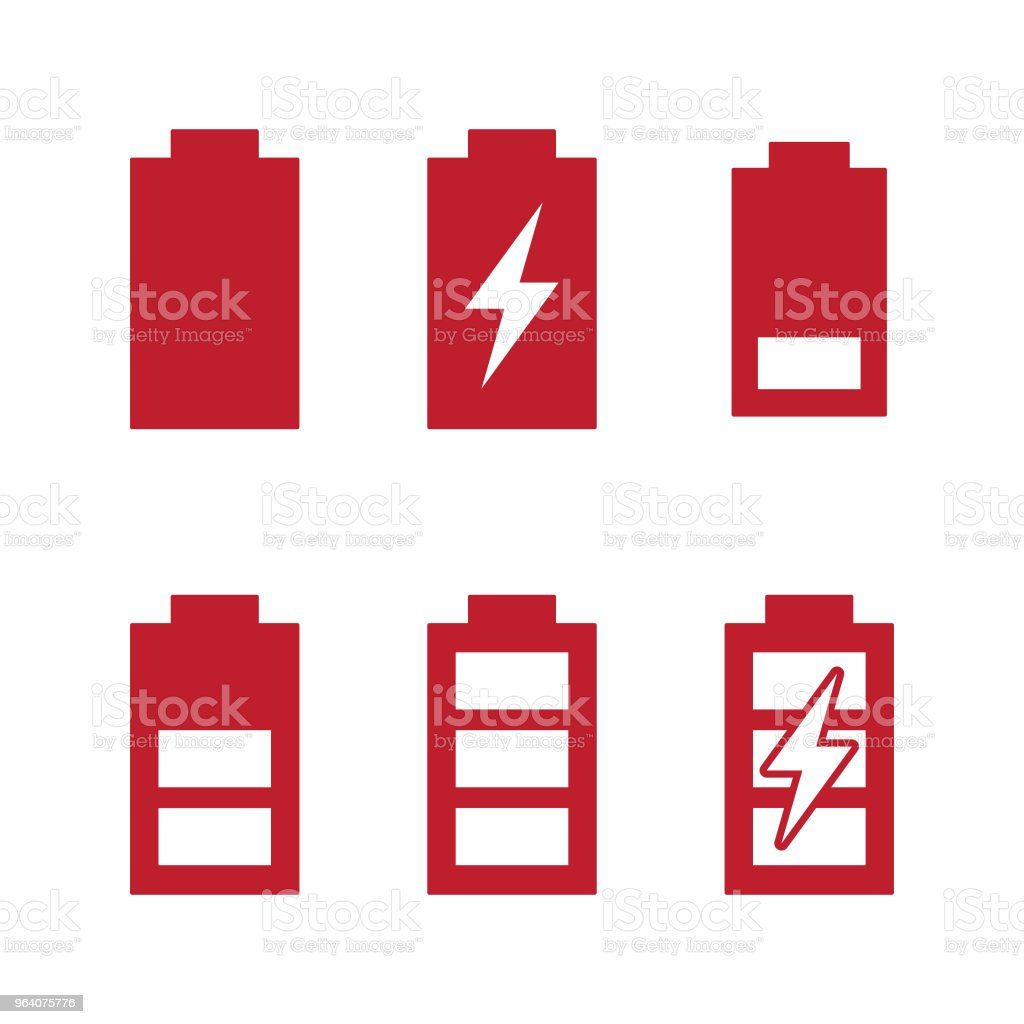 Charge and phases levels indicators battery charging icons set. - Royalty-free Abstract stock vector