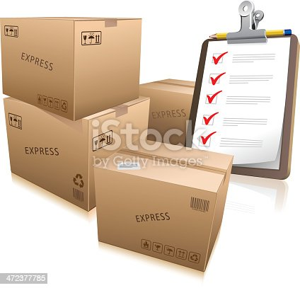 Vector illustration of shipping boxes and a checklist.