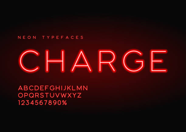 Best Red Neon Tube Alphabet Font Illustrations, Royalty-Free