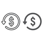 Chargeback line and glyph icon, e commerce and marketing, return on investment sign vector graphics, a linear pattern on a white background, eps 10.