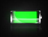 Charged battery. Full charge battery. Battery charging status indicator. Glass realistic power green battery illustration on black background. Full charge total discharge. Charge status. Vector