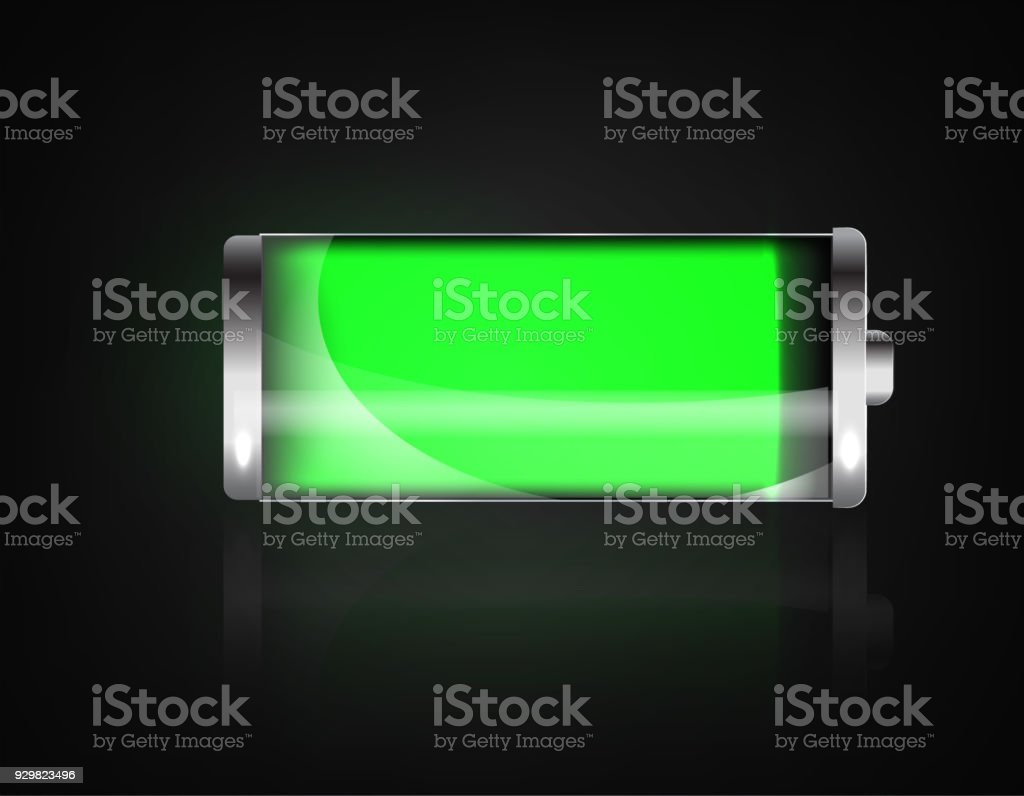 Charged battery. Full charge battery. Battery charging status indicator. Glass realistic power green battery illustration on black background. Full charge total discharge. Charge status. Vector vector art illustration