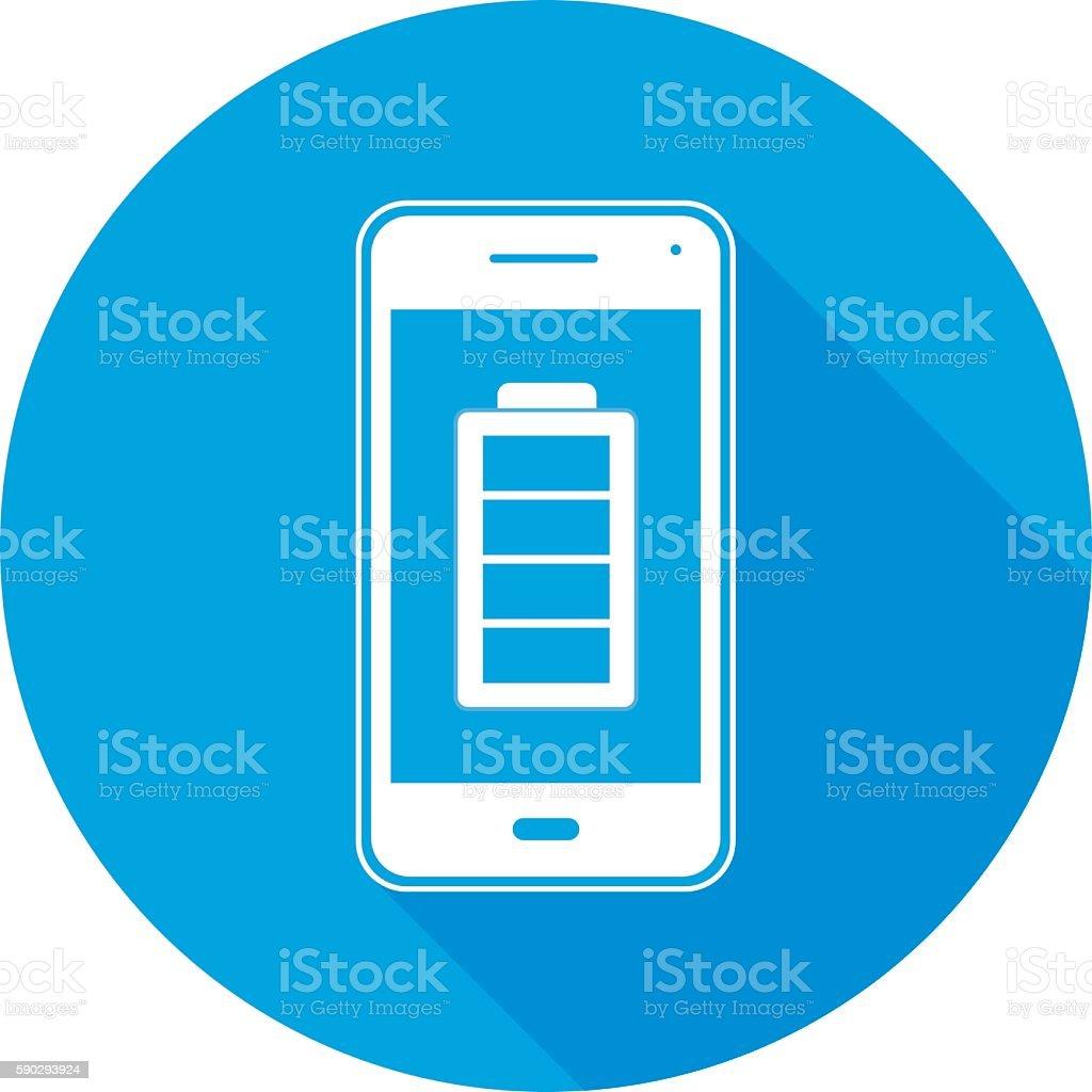Charged Battery SmartPhoneRoundIcon royaltyfri charged battery smartphoneroundicon-vektorgrafik och fler bilder på batteri