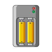Charger icon for AA and AAA type batteries. Vector illustration on white background. Isolated drawing.