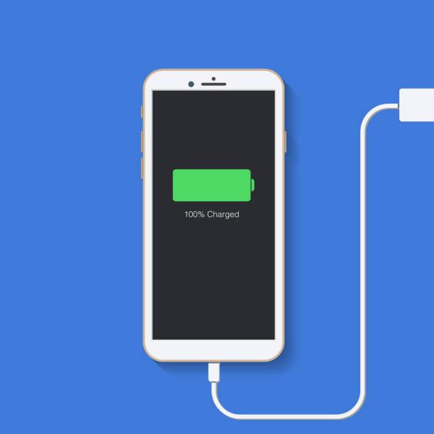 ilustrações de stock, clip art, desenhos animados e ícones de charger. phone charging. plugged. flat design. vector illustration. - carregar