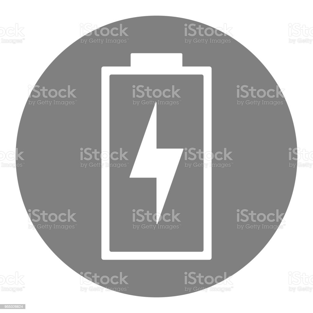 Charging battery with lightning. Round button. Vector icon vector art illustration