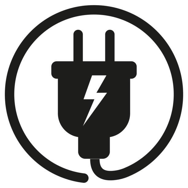 ladekabel-symbol - elektromobilität stock-grafiken, -clipart, -cartoons und -symbole
