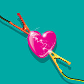 Vector Illustration with a loving Concept of an Heart being Charging with Electric Current Power