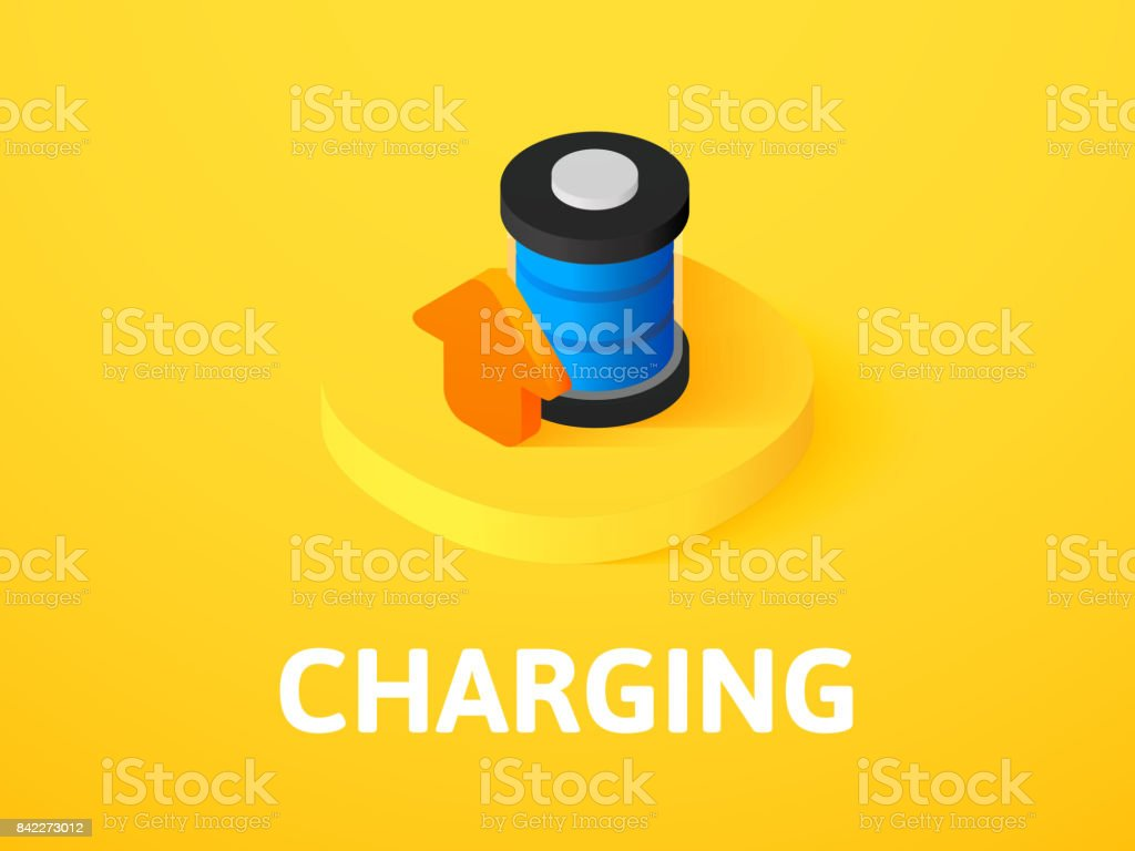 Charging isometric icon, isolated on color background vector art illustration