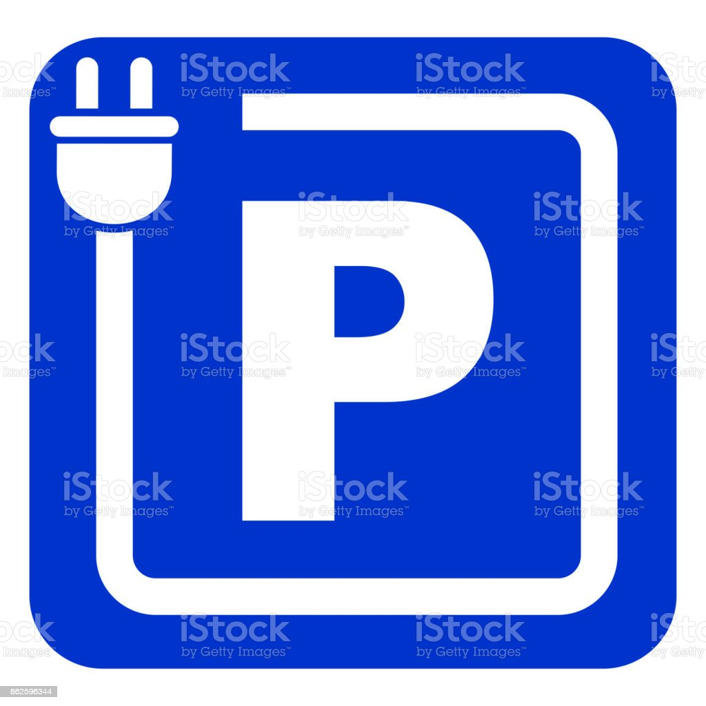 charging parking blue sign vector art illustration