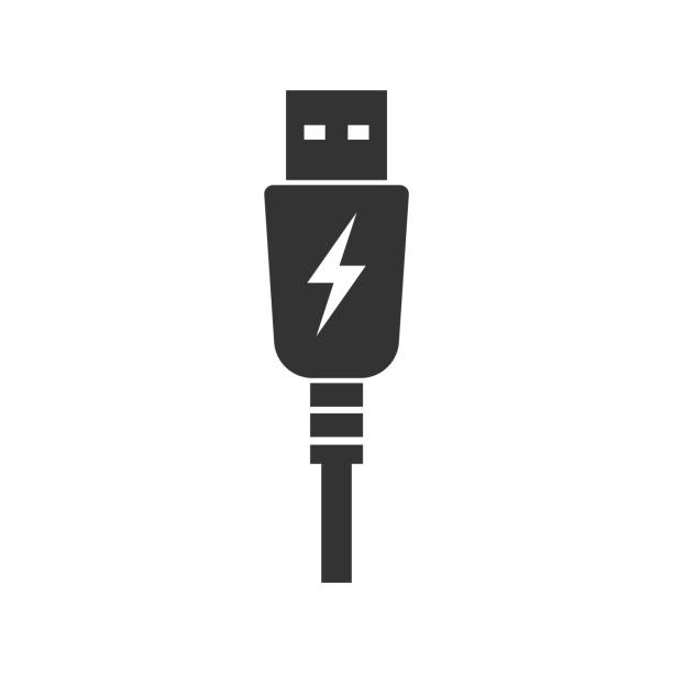 USB charging plug icon. Vector illustration. USB charging plug icon. Vector illustration. Eps 10. usb stick stock illustrations