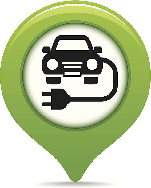 Charging point map pointer Clear and simple 'Charging point' map pointer. electric vehicle charging station stock illustrations