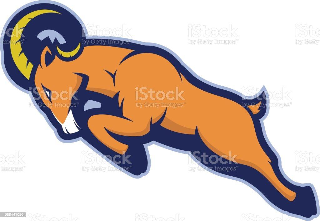 Charging ram mascot – artystyczna grafika wektorowa