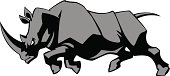 illustration of a charging rhino