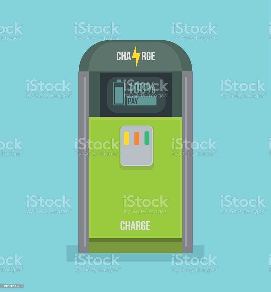 Charging station icon. Vector flat cartoon illustration vector art illustration