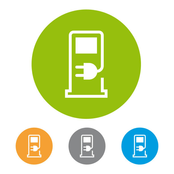 Charging station icon Eps10 vector illustration with layers (removeable) and high resolution jpeg file included (300dpi). electric vehicle charging station stock illustrations