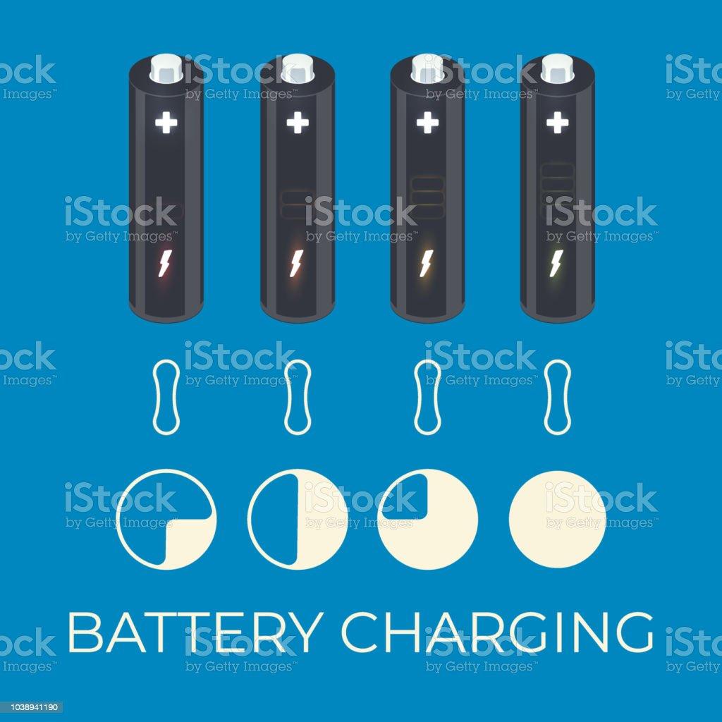 Charging status of battery element for infographic vector art illustration