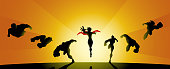 A silhouette style illustration of a team of superheroes charging forward with sun in the background.