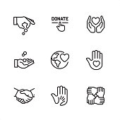 9 Outline style black and white icons / Set #08 / Charitable donation  CONTENT BY ROWS  First row of icons contains: Giving money, Click on Donate button, Love and care;  Second row contains: Coins in hand, Globe with Heart, Hand with heart (Volunteer);  Third row contains: Handshake, Human hand holding child's hand, Mutual support.  Pixel Perfect Principle - all the icons are designed in 64x64 px grid, outline stroke 2 px.  Complete Outline 3x3 PRO collection - https://www.istockphoto.com/collaboration/boards/hyo8kGplAEWxASfzDWET0Q