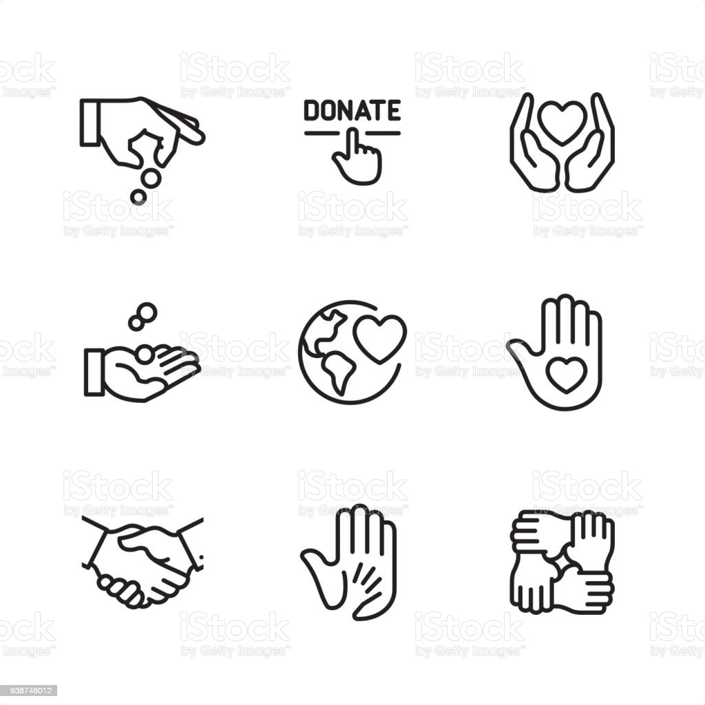 Charitable donation - Pixel Perfect outline icons vector art illustration