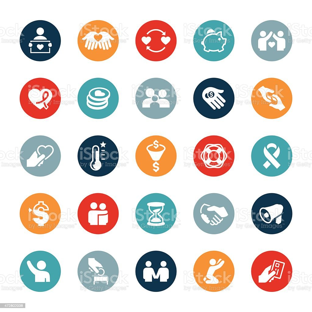 Charitable Giving Icons vector art illustration
