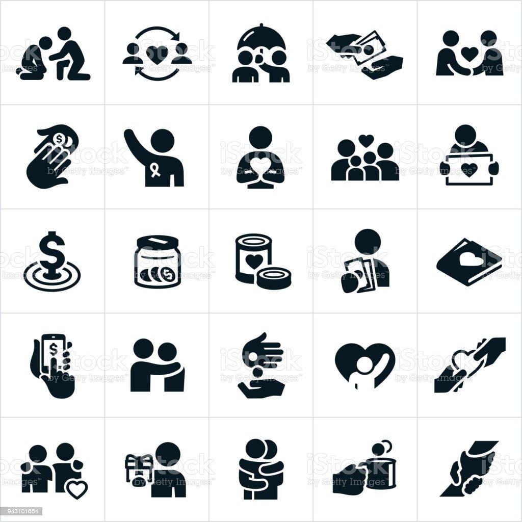 Iconos de Donaciones a entidades benéficas - ilustración de arte vectorial