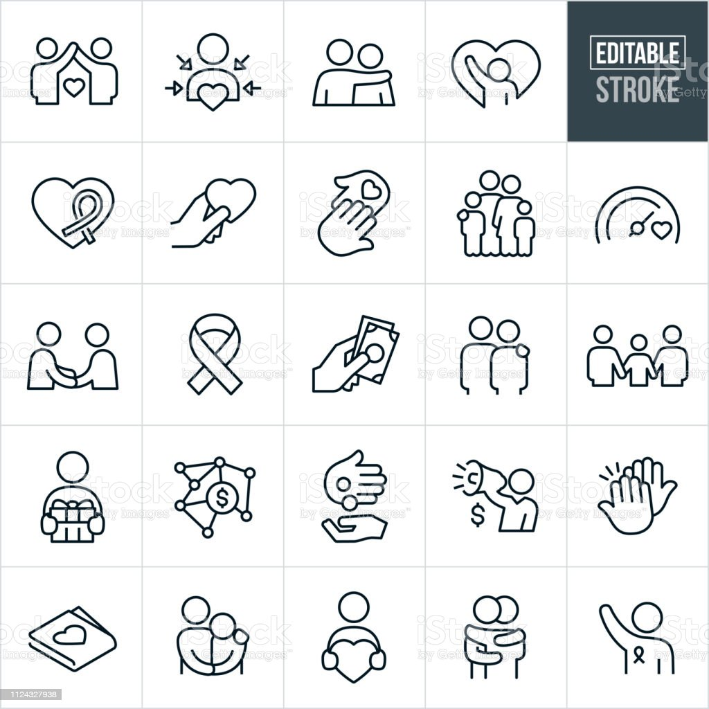 Charitable Giving Line Icons - Editable Stroke A set of charitable giving icons that include editable strokes or outlines using the EPS vector file. The icons include donations, people in need, needy, poor, awareness ribbon, charity and relief work, recipient, heart, love, concern, family, giving, goal, fellowshipping, arm around shoulder, gift, money, high five, hug and volunteer to name a few. A Helping Hand stock vector