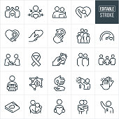 A set of charitable giving icons that include editable strokes or outlines using the EPS vector file. The icons include donations, people in need, needy, poor, awareness ribbon, charity and relief work, recipient, heart, love, concern, family, giving, goal, fellowshipping, arm around shoulder, gift, money, high five, hug and volunteer to name a few.