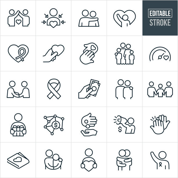 Charitable Giving Line Icons - Editable Stroke A set of charitable giving icons that include editable strokes or outlines using the EPS vector file. The icons include donations, people in need, needy, poor, awareness ribbon, charity and relief work, recipient, heart, love, concern, family, giving, goal, fellowshipping, arm around shoulder, gift, money, high five, hug and volunteer to name a few. conceptual symbol stock illustrations