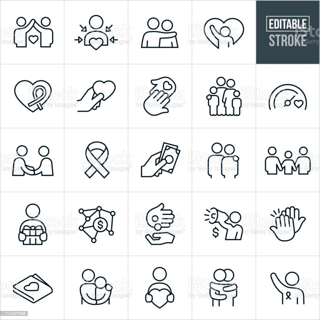 Iconos de línea dando caridad - trazo Editable - ilustración de arte vectorial