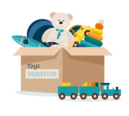 Charitable toys donation for kids. Toys donations box isolated on white background. Vector Illustration