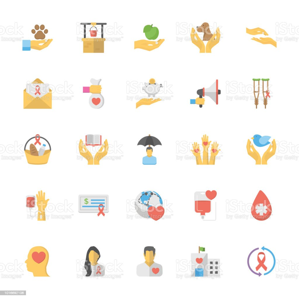 Charity and Care Flat Vector Icons vector art illustration
