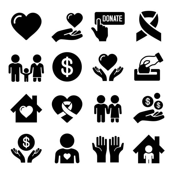 stockillustraties, clipart, cartoons en iconen met charity and care icons set - 2015